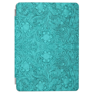 Turquoise Suede Leathe -Embossed Floral Design iPad Air Cover