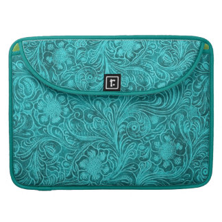 Turquoise Suede Leather Look-Retro Floral Pattern MacBook Pro Sleeves