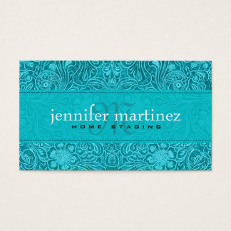 Turquoise Suede Leather Look Vintage Floral Design Business Card