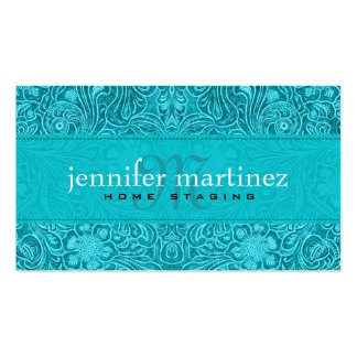 Turquoise Suede Leather Look Vintage Floral Design Pack Of Standard Business Cards