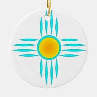 Turquoise Sun God Round Ceramic Decoration