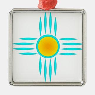Turquoise Sun God Silver-Colored Square Decoration