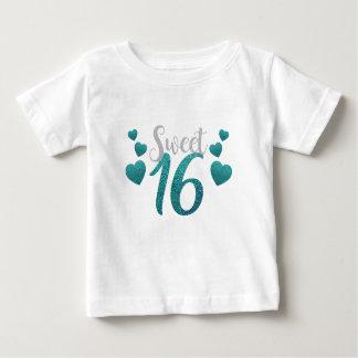 Turquoise Sweet Sixteen Hearts Baby T-Shirt