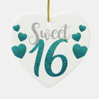 Turquoise Sweet Sixteen Hearts Ceramic Ornament