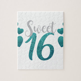 Turquoise Sweet Sixteen Hearts Jigsaw Puzzle