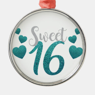 Turquoise Sweet Sixteen Hearts Metal Ornament