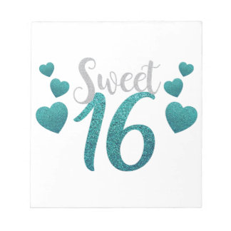 Turquoise Sweet Sixteen Hearts Notepads