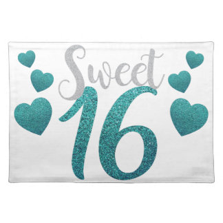 Turquoise Sweet Sixteen Hearts Placemat