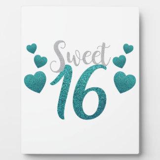 Turquoise Sweet Sixteen Hearts Plaque