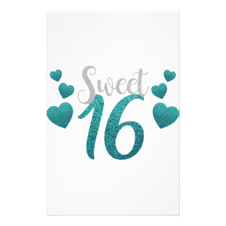 Turquoise Sweet Sixteen Hearts Stationery