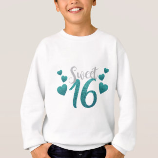 Turquoise Sweet Sixteen Hearts Sweatshirt