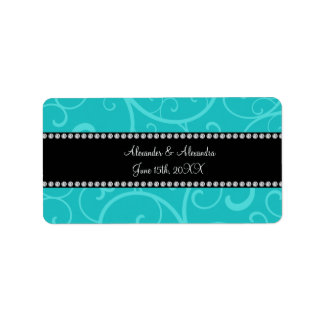 Turquoise swirls wedding favors address label
