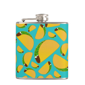 Turquoise tacos hip flask