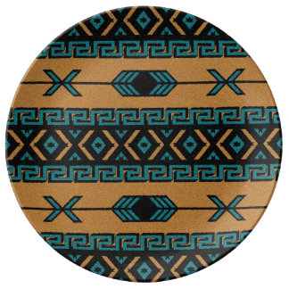Turquoise Tan Aztec Tribal Pattern Southwestern Plate