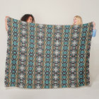 Turquoise Taupe Brown Rustic Cabin Mosaic Pattern Fleece Blanket