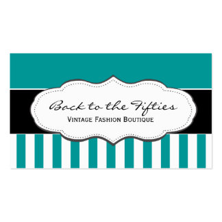 Turquoise Teal and White Striped Business Cards