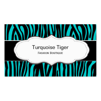 Turquoise Teal Animal print business cards