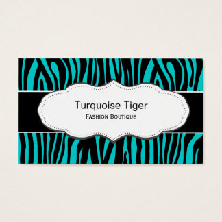 Turquoise / Teal Animal print business cards