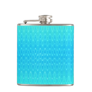 Turquoise Teal Blue Green Abstract Pattern Hip Flask
