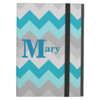 Turquoise Teal Blue Grey Gray Ombre Chevron Girl Cover For iPad Air