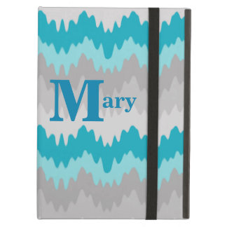 Turquoise Teal Blue Grey Gray Ombre Chevron Girl iPad Air Case