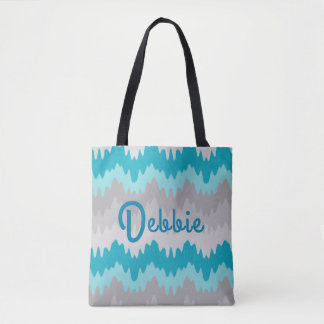 Turquoise Teal Blue Grey Gray Ombre Chevron Girl Tote Bag