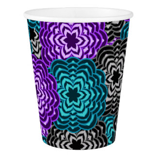 Turquoise Teal Blue Lavender Purple Grey Dahlia Paper Cup