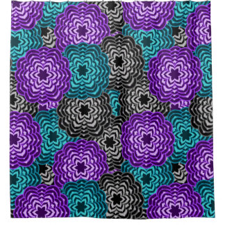 Turquoise Teal Blue Lavender Purple Grey Dahlia Shower Curtain