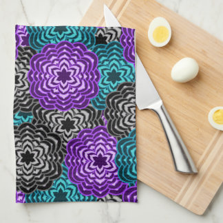 Turquoise Teal Blue Lavender Purple Grey Dahlia Tea Towel