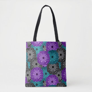 Turquoise Teal Blue Lavender Purple Grey Dahlia Tote Bag
