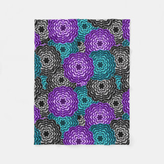 Turquoise Teal Blue Lavender Purple Grey Floral Fleece Blanket