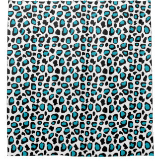 Turquoise Teal Blue Leopard Animal Print Girls Shower Curtain