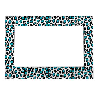 Turquoise Teal Blue Leopard Animal Print Magnetic Picture Frame