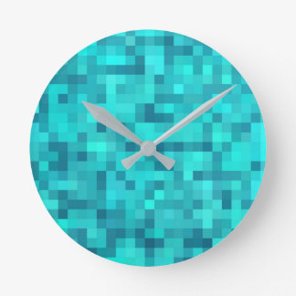 Turquoise Teal Blue Pattern Round Clock