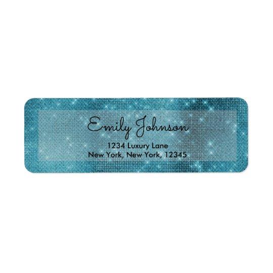 Turquoise Teal Blue Sparkle Bling Girly Return Address Label