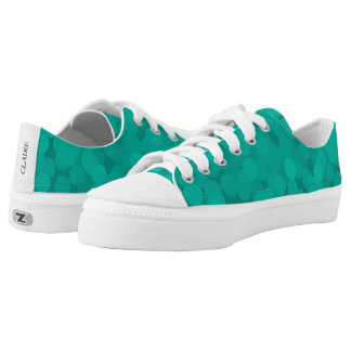 Turquoise Teal Bubble Pattern Low Top Canvas Shoes