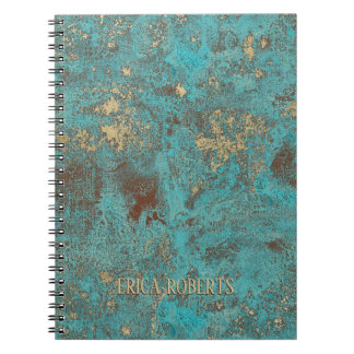 Turquoise Teal & Gold Copper Vintage Antique Notebook