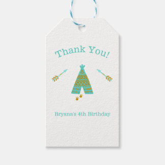 Turquoise Teal & Gold Tepee Modern Birthday Party Gift Tags