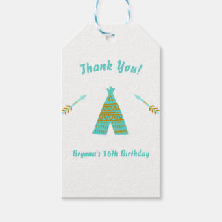 Turquoise Teal Gold Tepee Sweet 16 Birthday Party Gift Tags