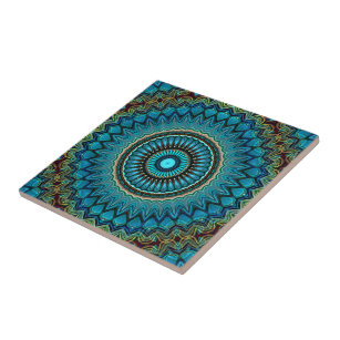 Turquoise Teal Green Mandala Round Star Pattern Ceramic Tile