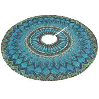 Turquoise Teal Green Mandala Round Star Pattern Fleece Tree Skirt