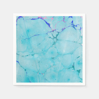 Turquoise Teal Marble Paint Abstract Watercolor Disposable Serviette