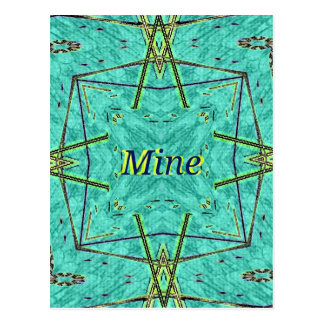 "Turquoise Teal Modern ""Mine"" Pattern Postcard"