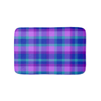 Turquoise Teal Navy Blue Purple Lavender Plaid Bath Mat