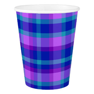 Turquoise Teal Navy Blue Purple Lavender Plaid Paper Cup