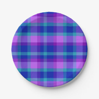 Turquoise Teal Navy Blue Purple Lavender Plaid Paper Plate
