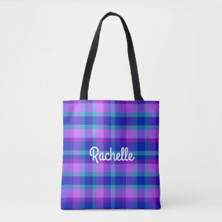 Turquoise Teal Navy Blue Purple Lavender Plaid Tote Bag
