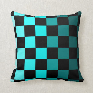 Turquoise Teal Ombre Checkerboard Chessboard Cushion