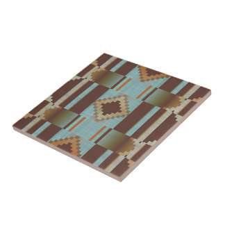 Turquoise Teal Orange Brown Eclectic Ethnic Look Ceramic Tile