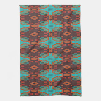 Turquoise Teal Orange Red Eclectic Ethnic Look Kitchen Towels
